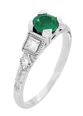 Diagonal View of Emerald Engagement Ring - R155