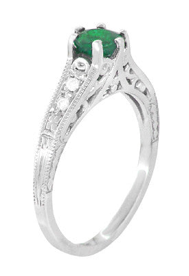 Art Deco Emerald and Diamond Filigree Engagement Ring in 14 Karat White Gold - Item: R206 - Image: 2