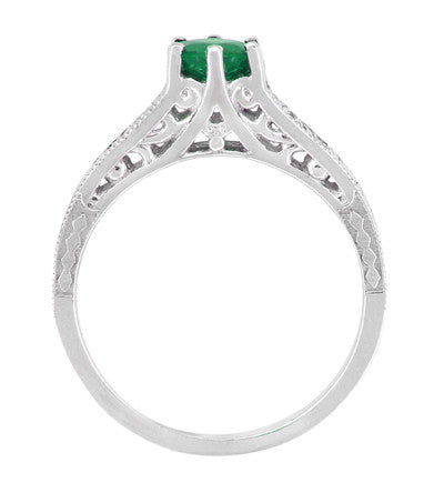 Art Deco Emerald and Diamond Filigree Engagement Ring in 14 Karat White Gold - Item: R206 - Image: 3