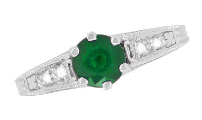 Art Deco Emerald and Diamond Filigree Engagement Ring in 14 Karat White Gold - Item: R206 - Image: 4