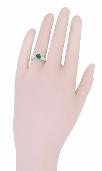 Art Deco Emerald and Diamond Filigree Engagement Ring in 14 Karat White Gold - Item: R206 - Image: 5