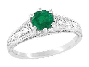 Art Deco Emerald and Diamond Filigree Engagement Ring in 14 Karat White Gold - Item: R206 - Image: 1