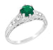 Art Deco Emerald and Diamond Filigree Engagement Ring in 14 Karat White Gold