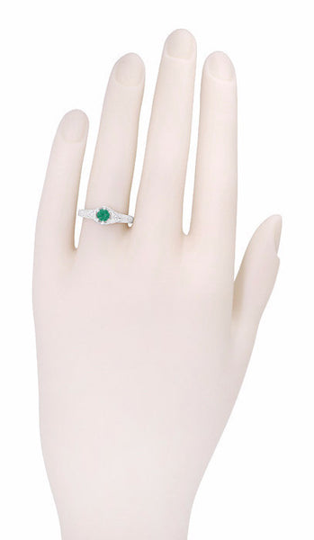 Art Deco Emerald and Diamond Filigree Engraved Engagement Ring in 14 Karat White Gold - Item: R288 - Image: 2