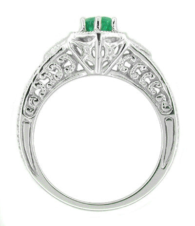Art Deco Emerald and Diamond Filigree Engraved Engagement Ring in 14 Karat White Gold - Item: R288 - Image: 1