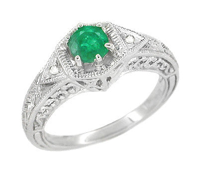 Art Deco Emerald and Diamond Filigree Engraved Engagement Ring in 14 Karat White Gold