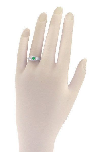 Art Deco Emerald and Diamond Low Profile Filigree Engagement Ring in 14 Karat White Gold - Item: R312 - Image: 2