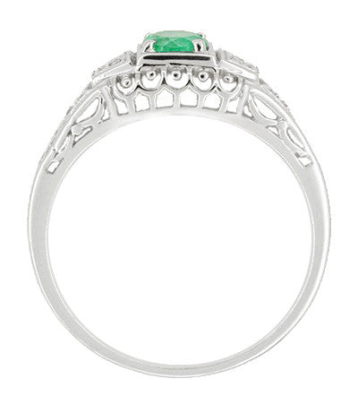 Art Deco Emerald and Diamond Low Profile Filigree Engagement Ring in 14 Karat White Gold - Item: R312 - Image: 1