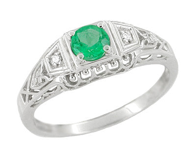 Art Deco Emerald and Diamond Low Profile Filigree Engagement Ring in 14 Karat White Gold