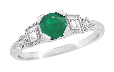 Simple Vintage Emerald Engagement Ring with Side Diamonds - R155