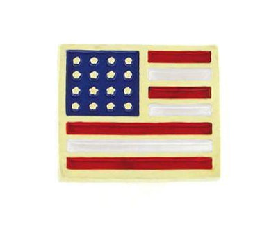 Enameled American Flag Pin in Solid 14 Karat Gold