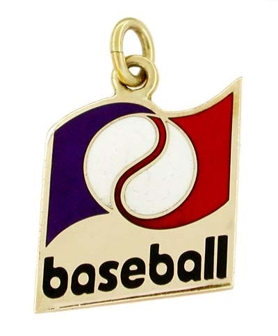 Enameled Baseball Charm in 10 Karat Gold