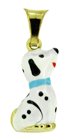 Enameled Dalmatian Charm in 14 Karat Gold