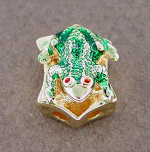 Enameled Frog Slide in 14 Karat Gold - Item: SL9 - Image: 1