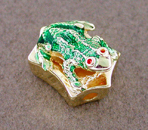 Enameled Frog Slide in 14 Karat Gold