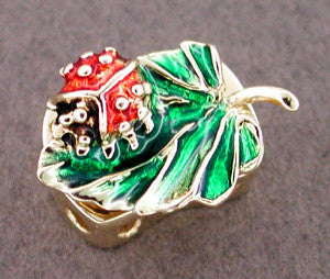 Enameled Ladybug Slide in 14 Karat Gold