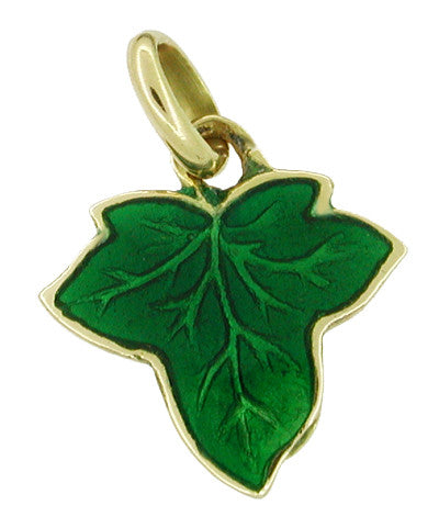 Green Enameled Maple Leaf Charm in 18 Karat Gold