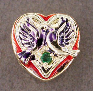 Enameled Lovebirds Emerald Set Heart Slide in 14 Karat Gold