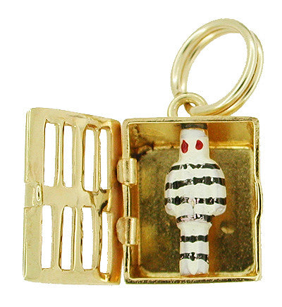 Enameled Movable Jail Cell and Prisoner Charm in 14 Karat Gold