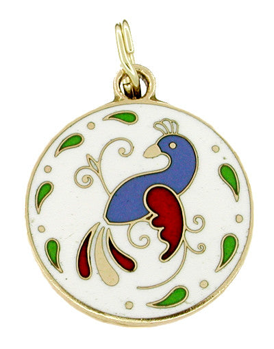 Enameled Peacock Charm in 10 Karat Gold
