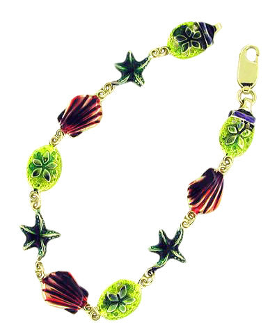 Vintage Enameled Sea Life Bracelet in 14 Karat Yellow Gold