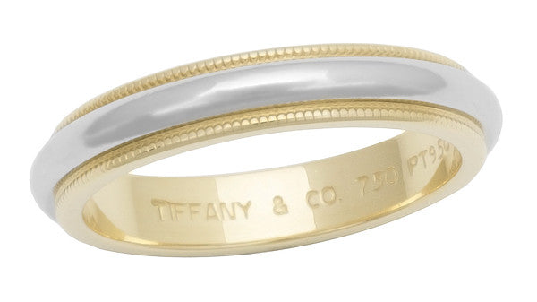 Tiffany & Co 3.75mm Milgrain Wedding Band in Platinum & 18K Yellow Gold - Ring Size 7 - Pre Owned Vintage Tiffany Band