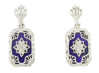 Art Deco Filigree Lapis Lazuli and Diamond Set Earrings in 14 Karat White Gold