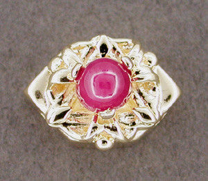 Eye Pyramid Ruby Set Slide in 14 Karat Gold