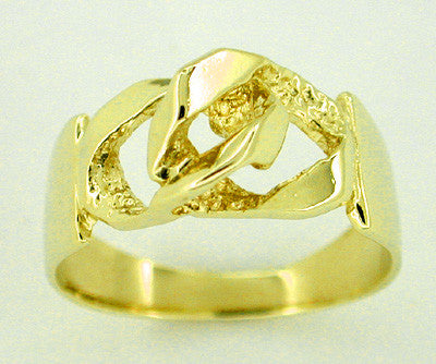 Figaro Link Ring in 14 Karat Gold