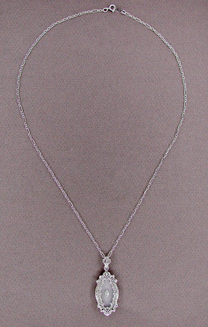 Art Deco Filigree Crystal and Diamond Set Pendant Necklace in Sterling Silver - Item: N105 - Image: 1