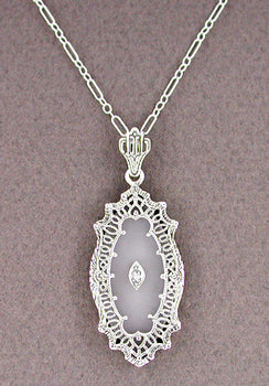 Art Deco Filigree Crystal and Diamond Set Pendant Necklace in Sterling Silver