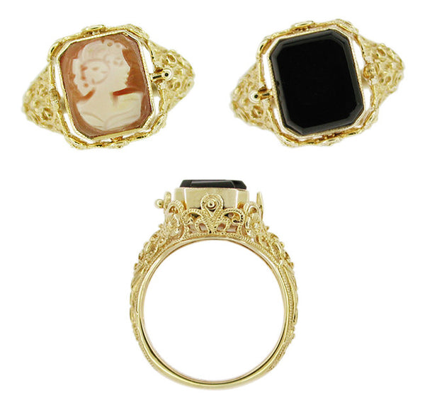 Filigree Flip Ring with Carnelian Shell Cameo and Onyx in 14 Karat Gold - Item: R136 - Image: 1