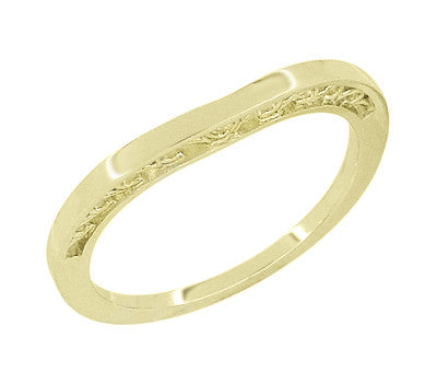 Filigree Scrolls Heart Curved Wedding Band in 14K Yellow Gold - Item: R847Y - Image: 1