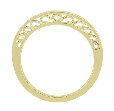 Filigree Scrolls Heart Curved Wedding Band in 14K Yellow Gold