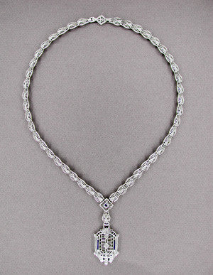 Art Deco Filigree Drop Pendant Necklace Set with Sapphire and Diamonds in Sterling Silver - Item: N109 - Image: 1