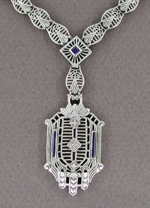 Art Deco Filigree Drop Pendant Necklace Set with Sapphire and Diamonds in Sterling Silver