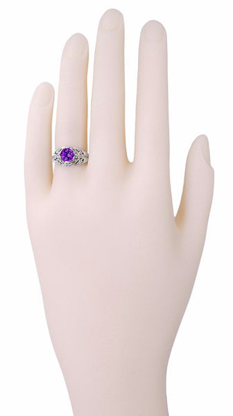 Edwardian Filigree 1 Carat Amethyst Promise Ring in Sterling Silver - Item: SSR1 - Image: 2