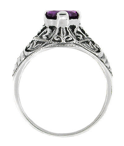 Edwardian Filigree 1 Carat Amethyst Promise Ring in Sterling Silver - Item: SSR1 - Image: 1