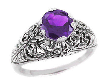 Edwardian Filigree 1 Carat Amethyst Promise Ring in Sterling Silver