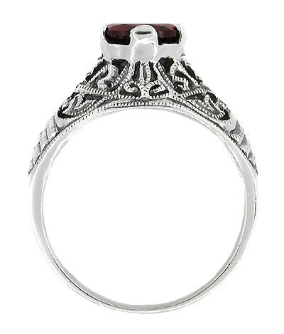 Edwardian Filigree Almandine Garnet Ring in Sterling Silver | 1.40 Carats - Item: SSR3 - Image: 1