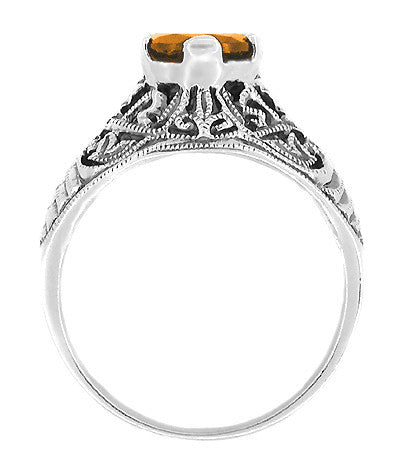 Edwardian Filigree 1 Carat Citrine Promise Ring in Sterling Silver - Item: SSR5 - Image: 1