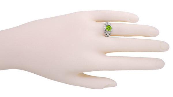 Edwardian Filigree 1.20 Carat Peridot Promise Ring in Sterling Silver - Item: SSR7 - Image: 2