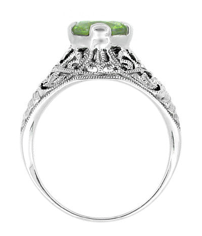 Edwardian Filigree 1.20 Carat Peridot Promise Ring in Sterling Silver - Item: SSR7 - Image: 1