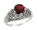 Edwardian Filigree Almandine Garnet Ring in Sterling Silver | 1.40 Carats