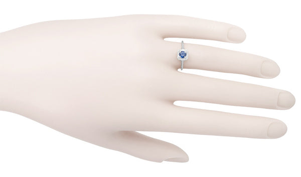 Filigree Scrolls Engraved Art Deco Blue Sapphire Engagement Ring in 14 Karat White Gold - Item: R184 - Image: 3