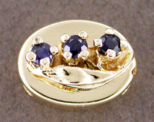 Floral Motif Oval Slide Set with Sapphires in 14 Karat Gold
