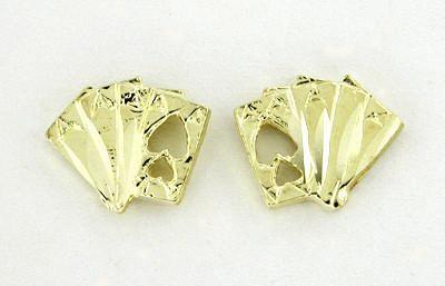 Four Aces Stud Cards Earrings in 14 Karat Yellow Gold