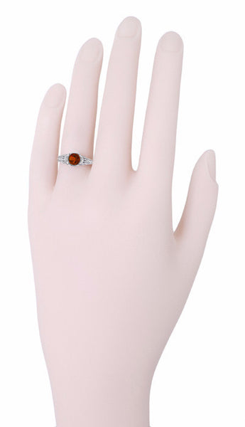 Art Deco Filigree Engraved Almandine Garnet Promise Ring in Sterling Silver - Item: SSR4 - Image: 2