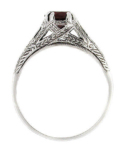 Art Deco Filigree Engraved Almandine Garnet Promise Ring in Sterling Silver - Item: SSR4 - Image: 1