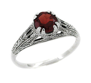 Art Deco Filigree Engraved Almandine Garnet Promise Ring in Sterling Silver